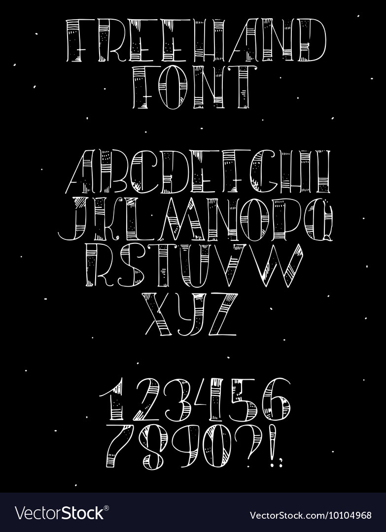 Freehand hand drawn white font with english vector image