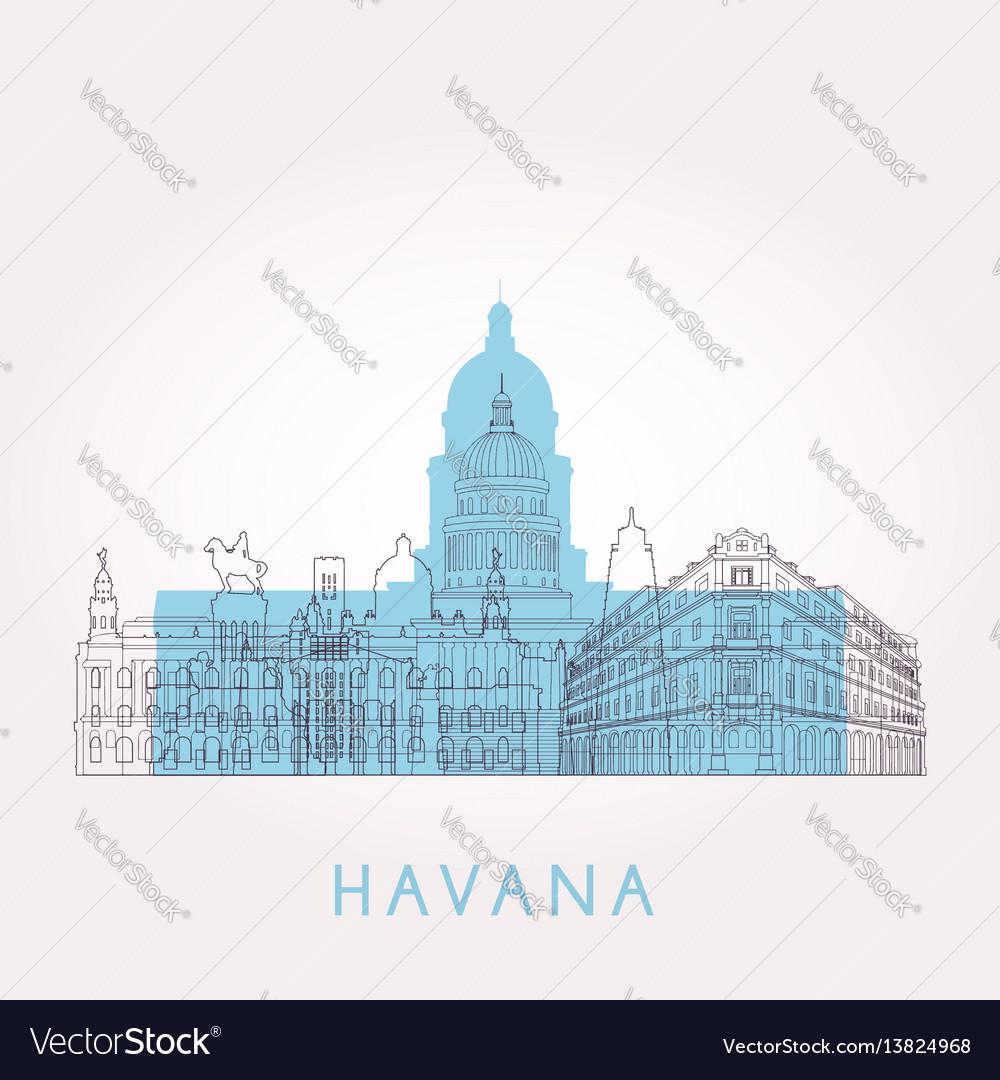 Outline havana skyline with landmarks vector image
