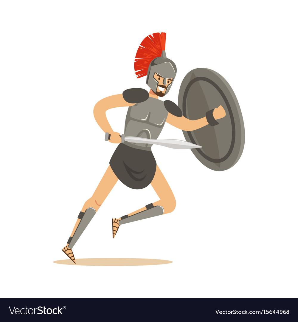 Roman warrior character man wearing roman soldier vector image