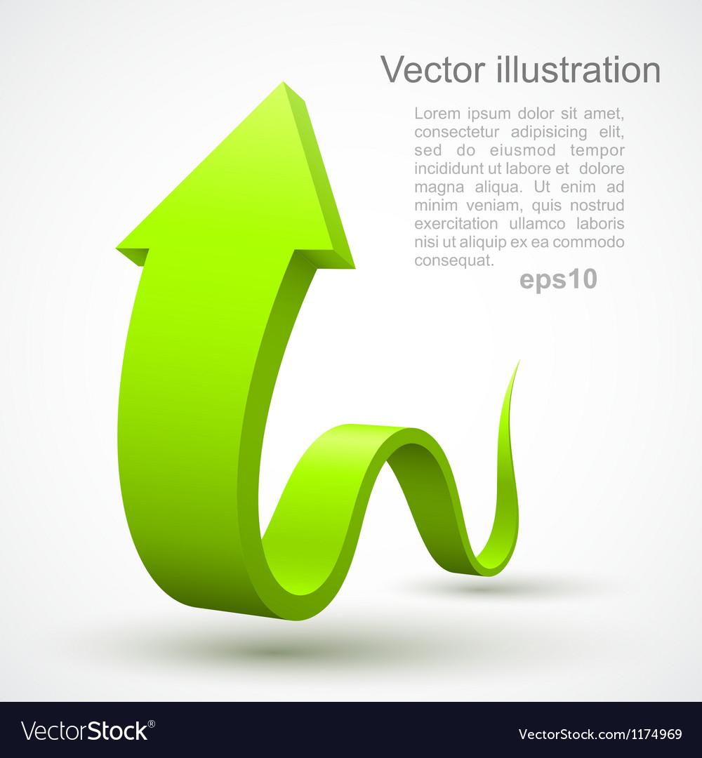 Green wavy arrow 3D vector image
