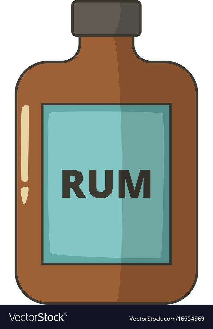 Bottle of rum icon cartoon style vector image