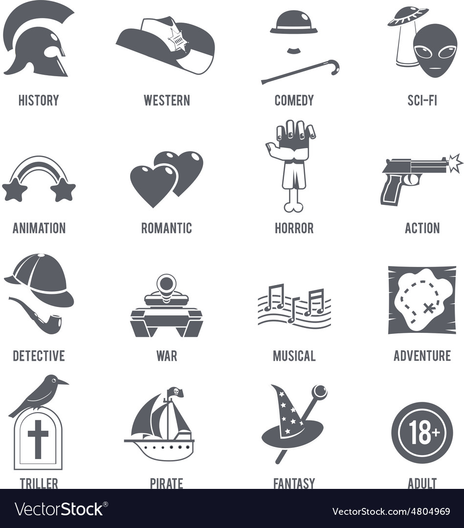 Film Genres Icons Black Set vector image