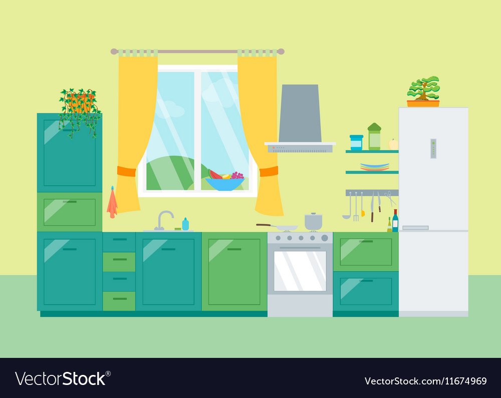 Interior Classic Kitchen with Furniture and Window vector image
