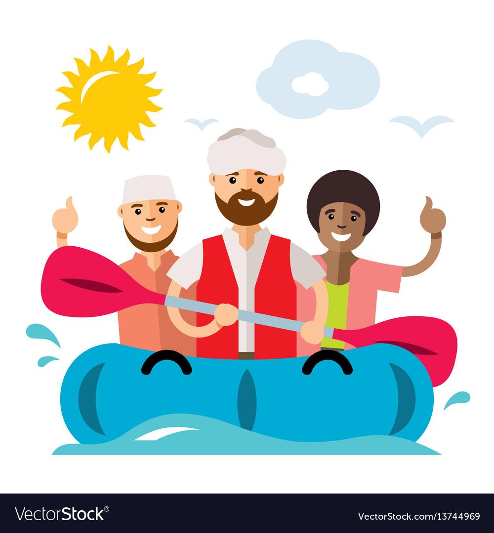 Vecctor refugee migrants boat illegal migration vector image