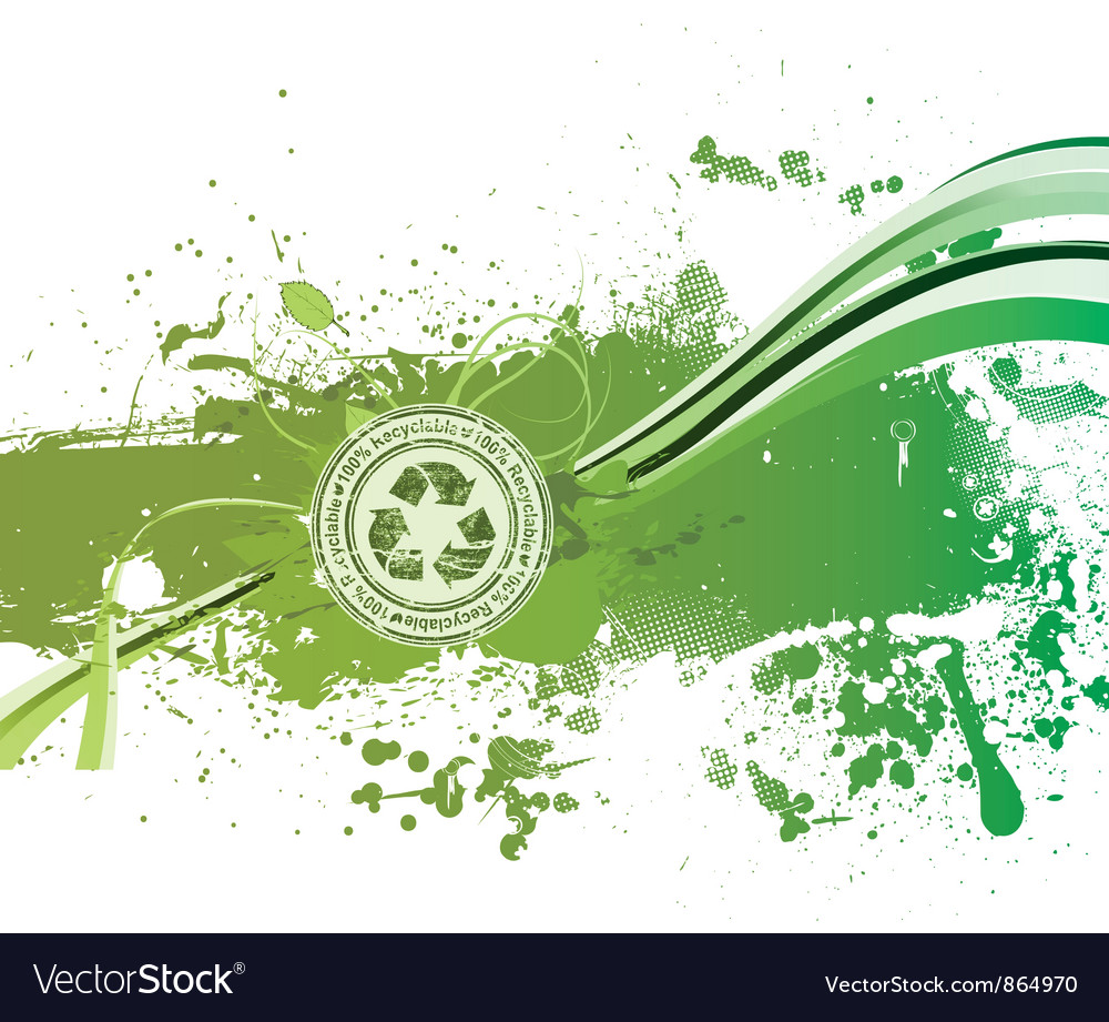 Grunge green background with recycle stamp vector image