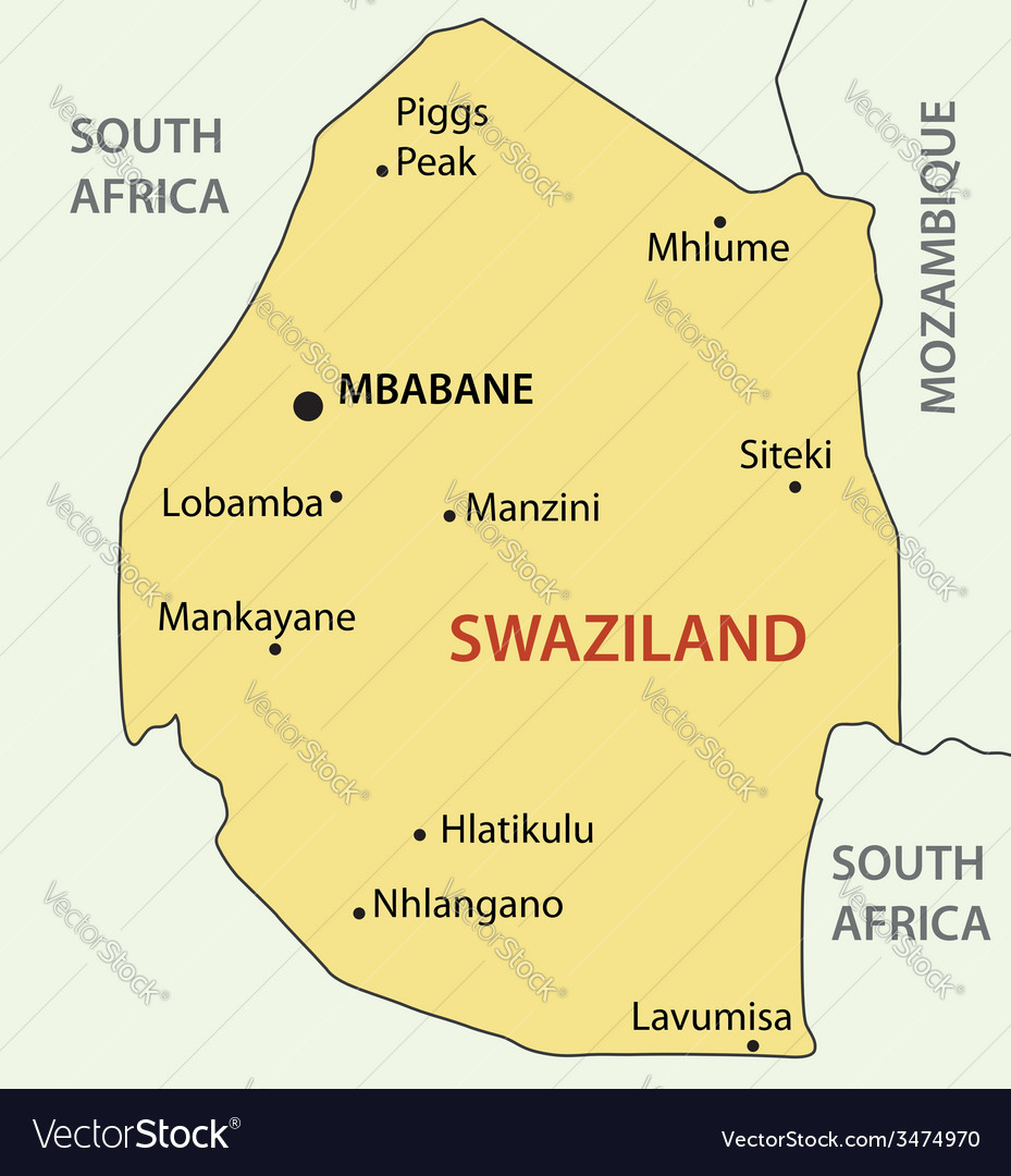 Kingdom of Swaziland map Royalty Free Vector Image