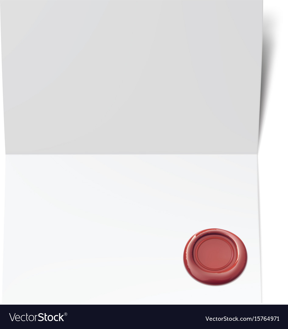 Blank white paper with red wax seal vector image