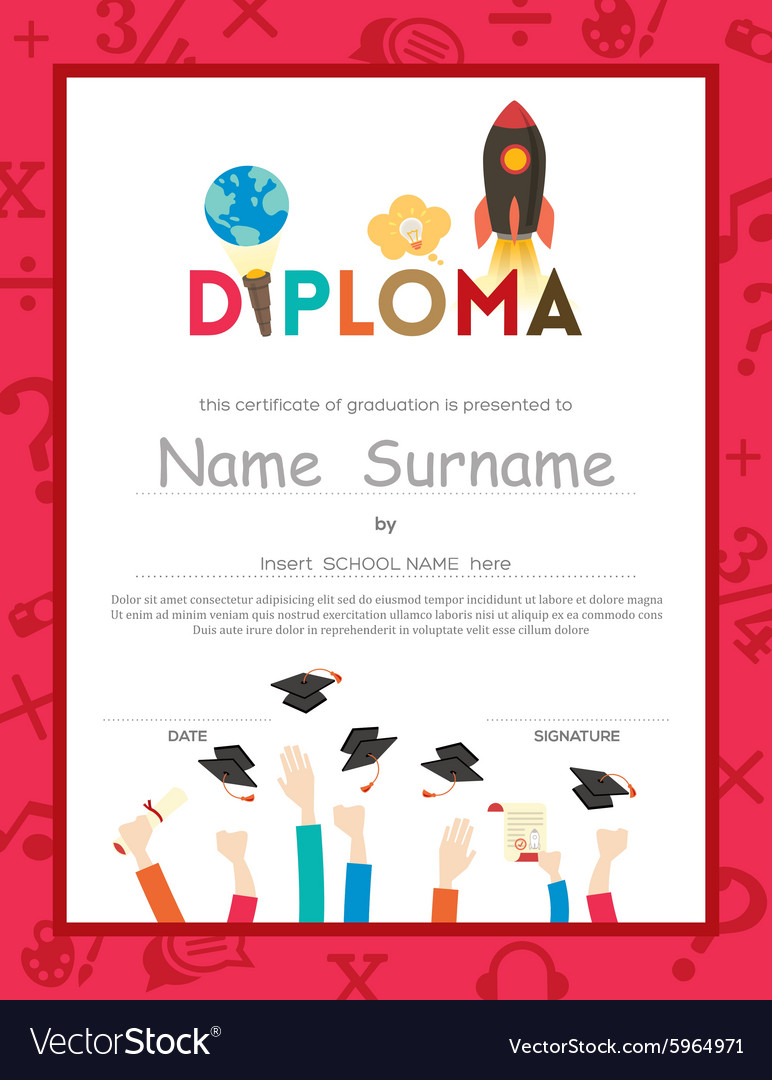 Kids diploma certificate background template vector image kids diploma certificate background template vector image xflitez Images