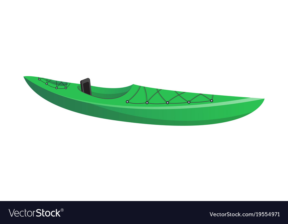 Side View Green Kayak Isolated Icon Vector Image