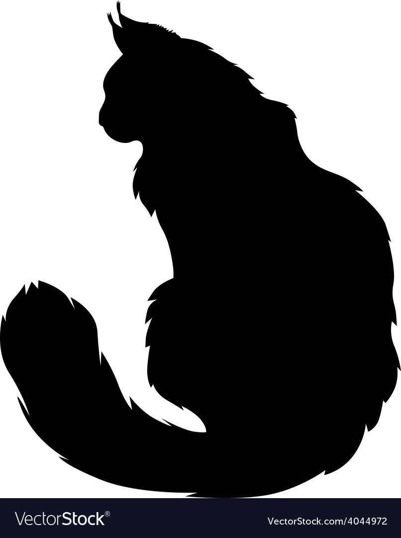 Furry cat silhouette Royalty Free Vector Image
