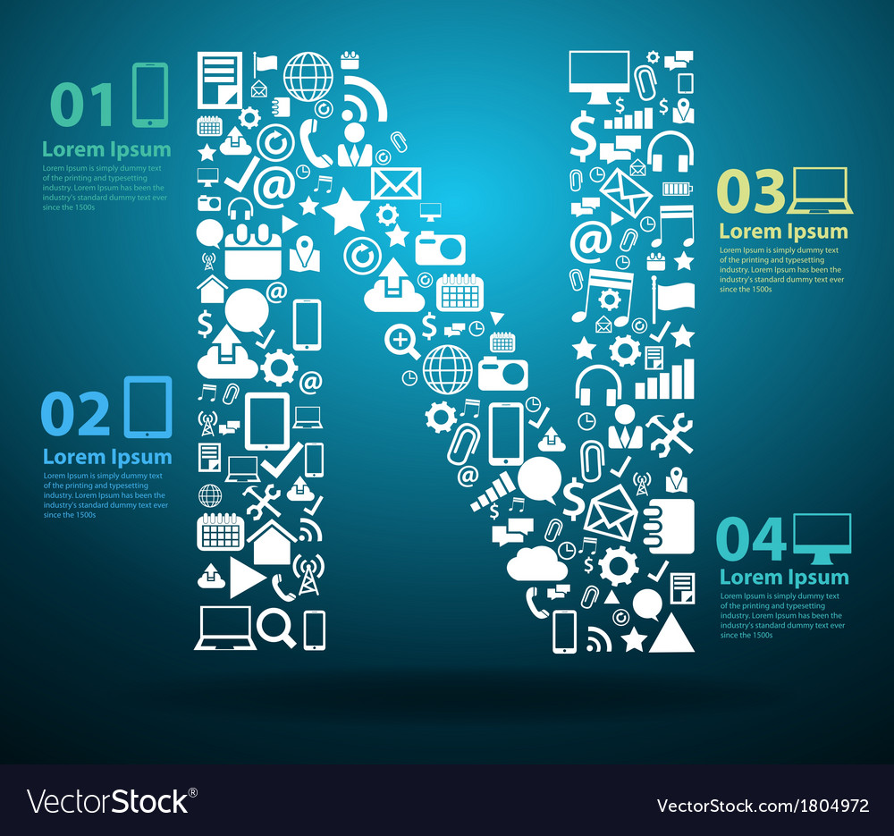 Application icons alphabet letters N design vector image