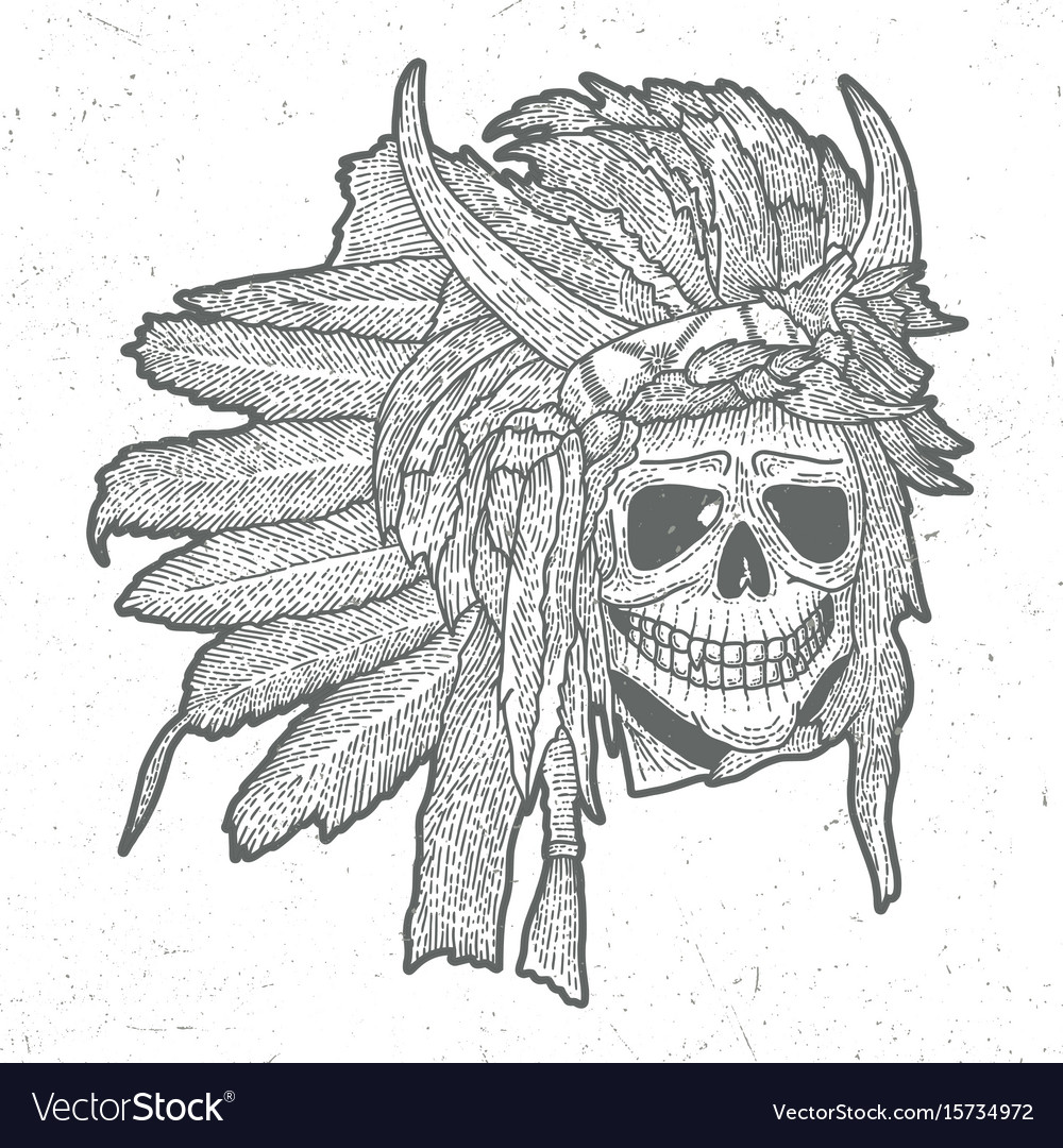 Indian skull mask poster vector image