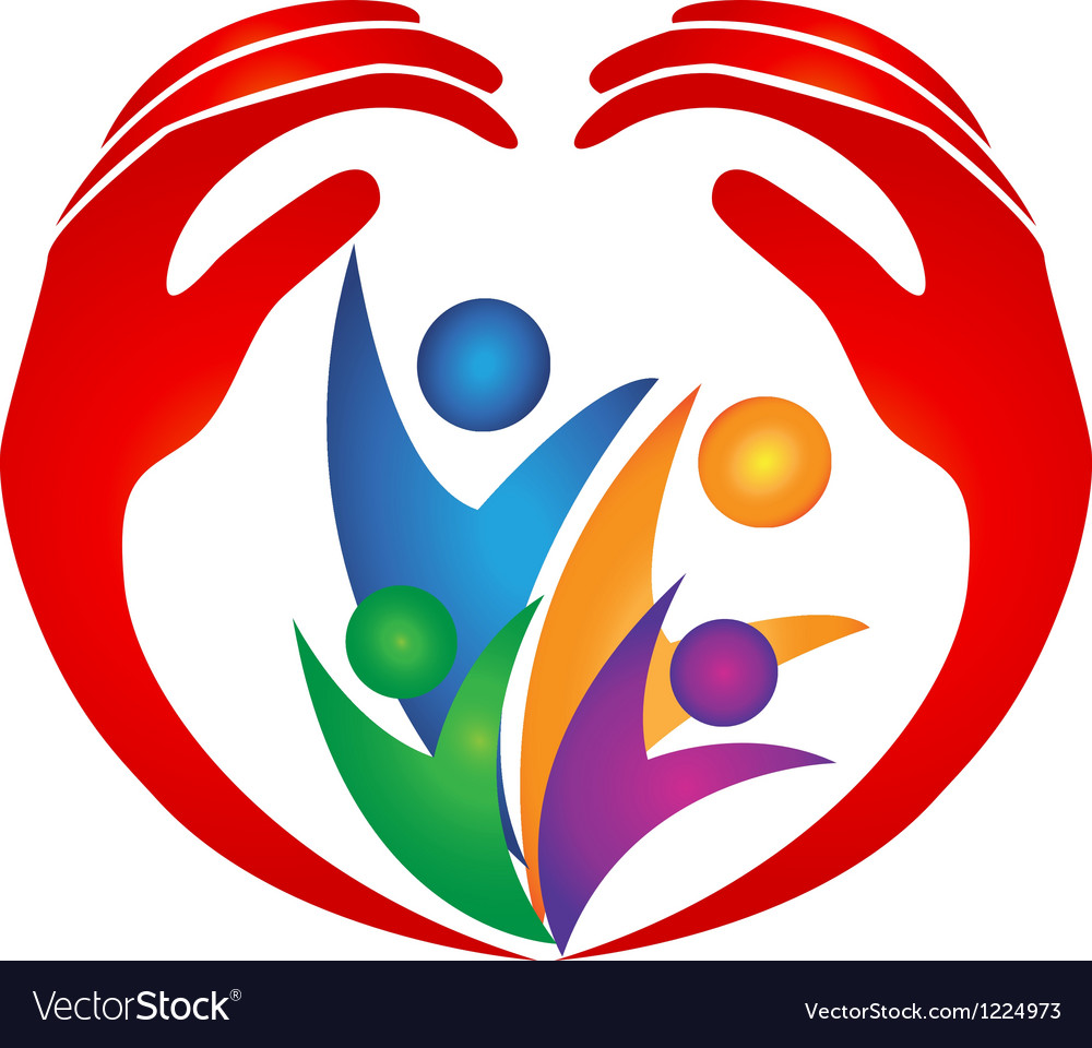 Family protected by hands logo vector image