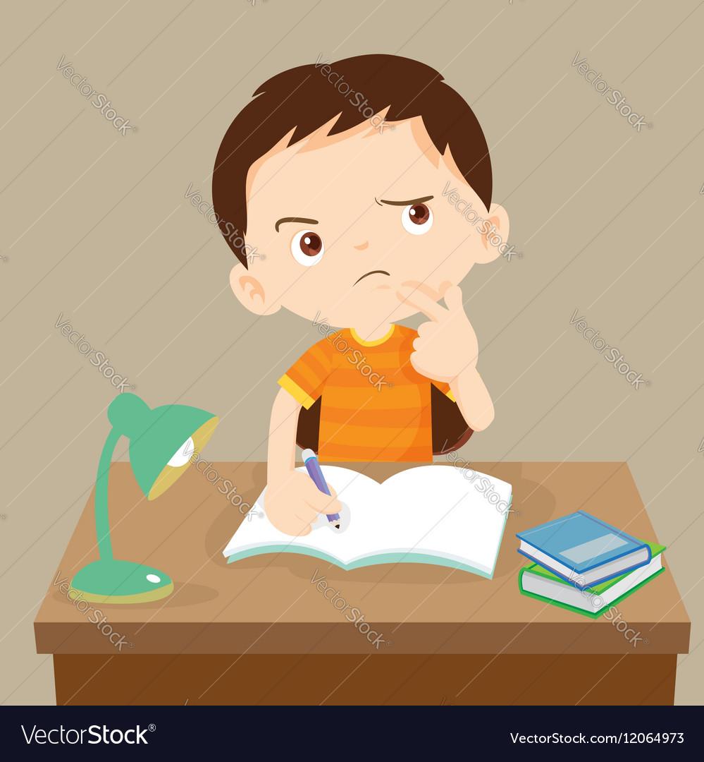 Cute boy thinking working on homework vector image