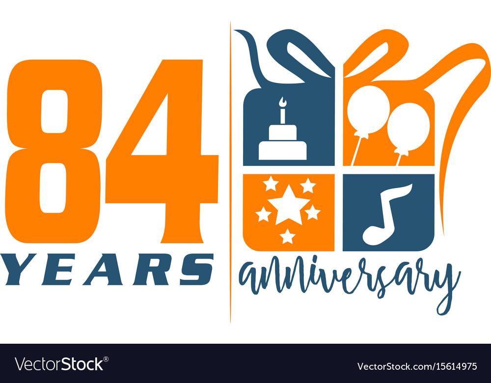 84 years gift box ribbon annivers vector image