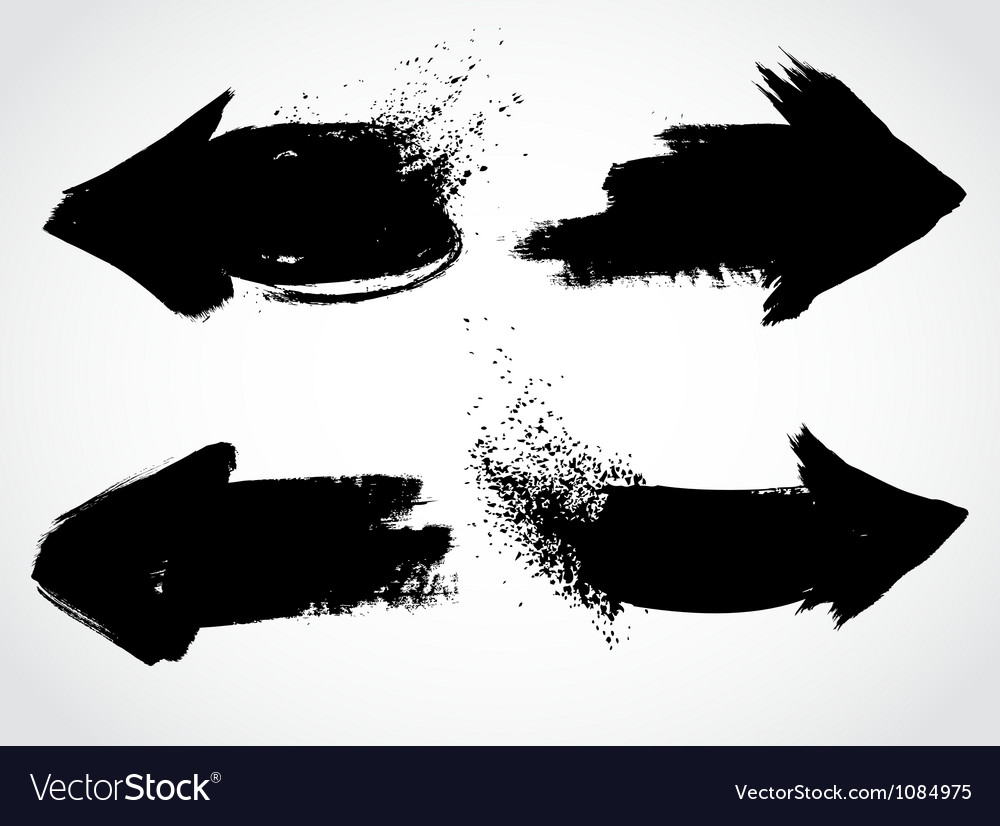 Arrows grunge set vector image