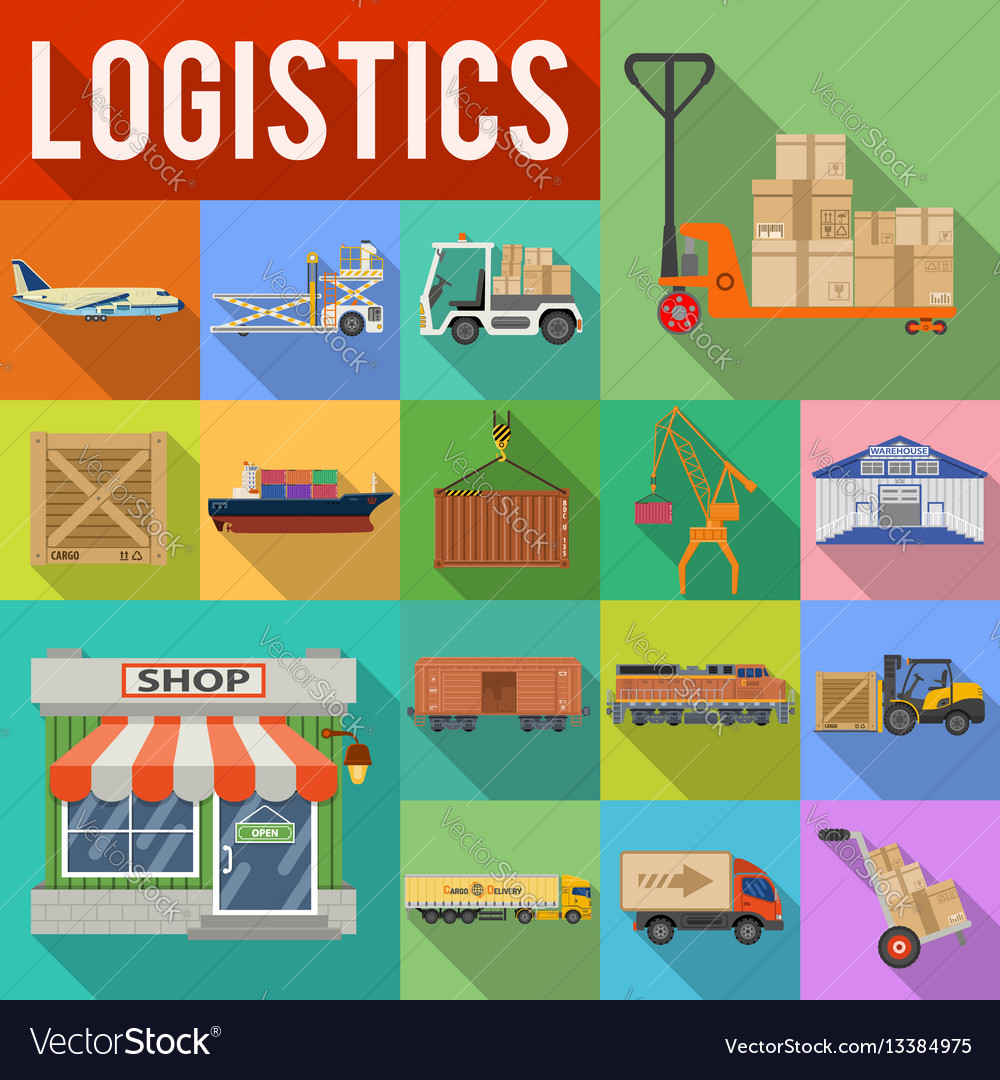 Cargo transport and logistics icon set vector image