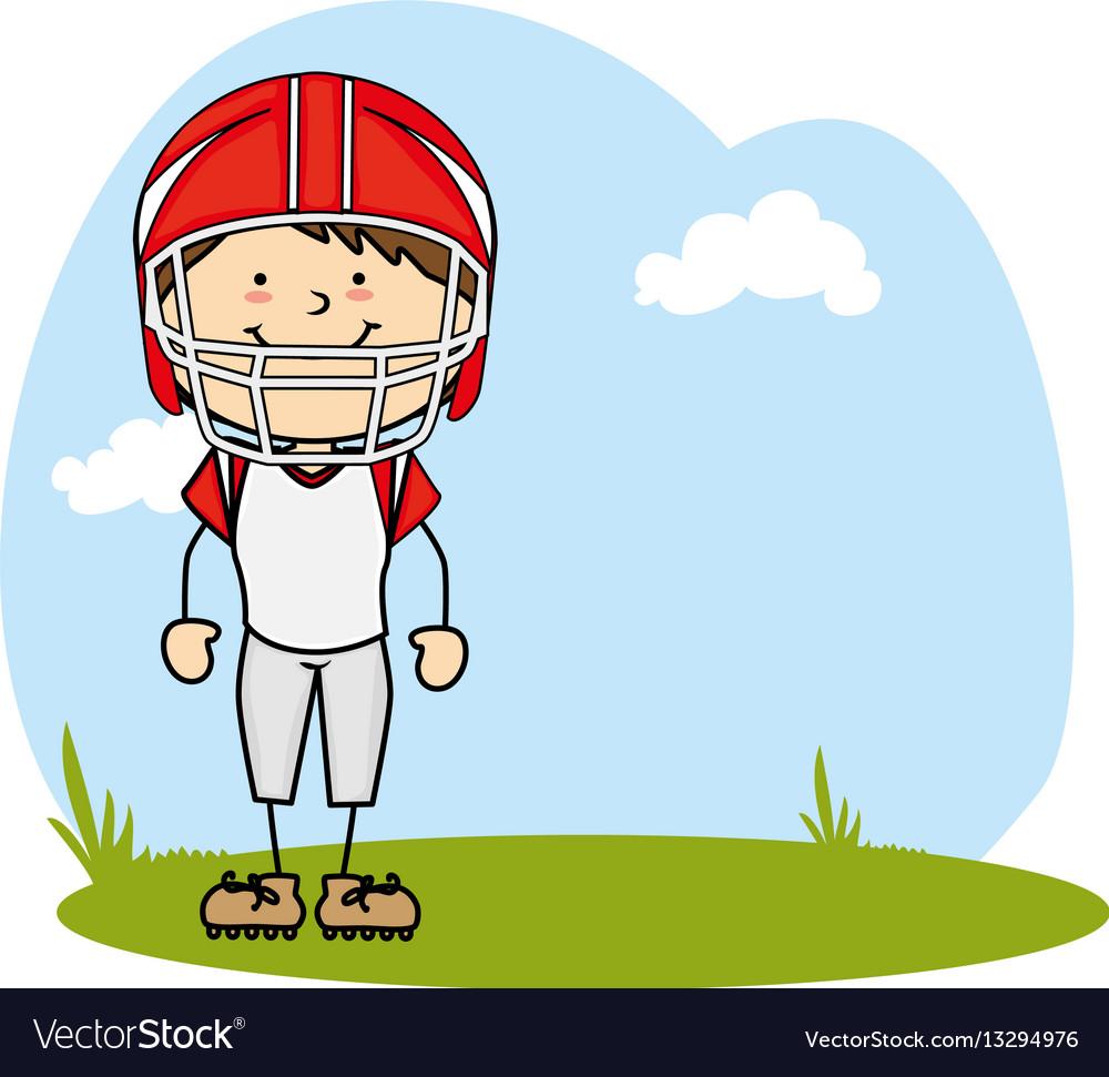 Cute boy avatar character football player vector image