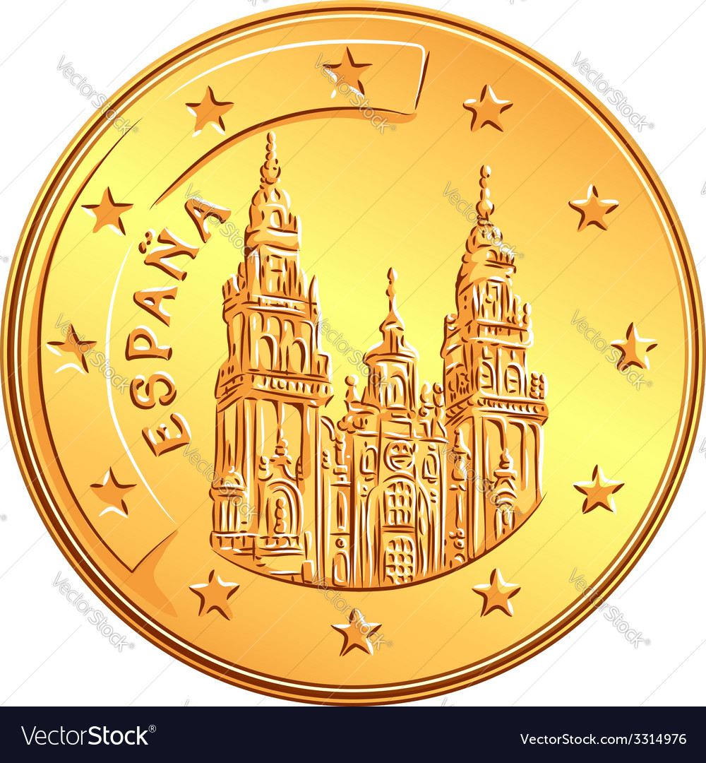 Gold money Spanish coin euro vector image