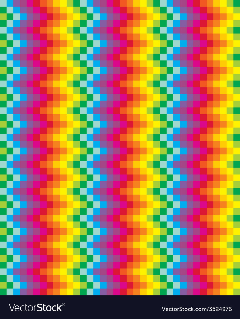 Rainbow pixel pattern vector image