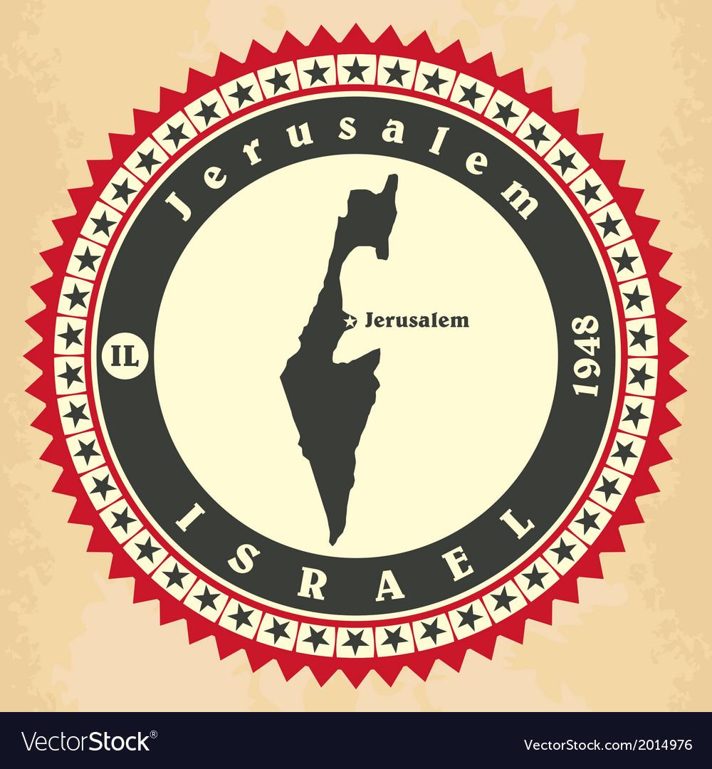 Vintage label-sticker cards of Israel vector image