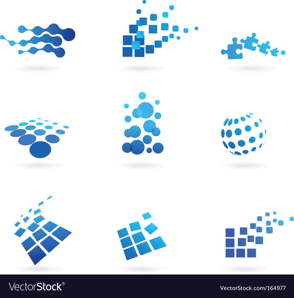 Dotted icons and logos set vector image