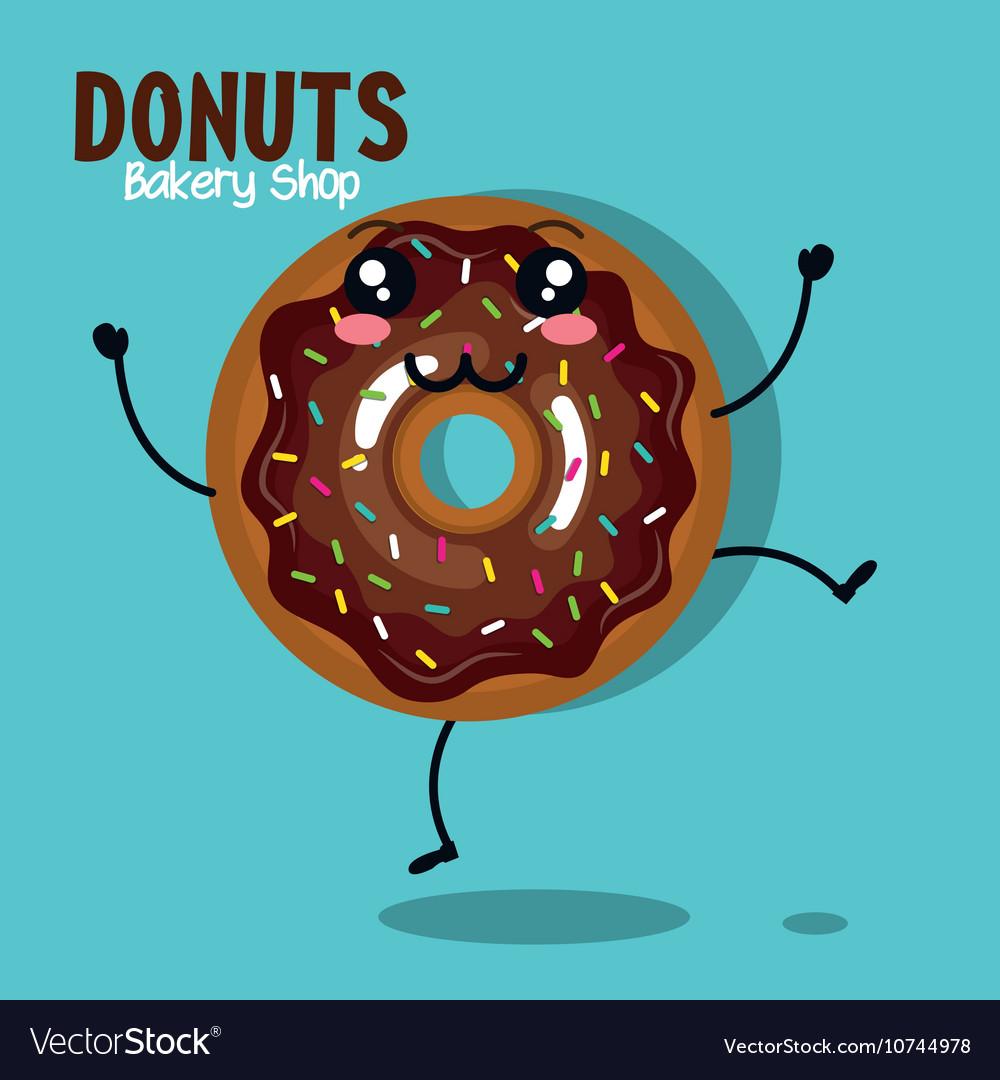 Icon donut cream chocolate graphic vector image