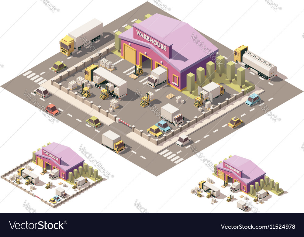 Isometric low poly warehouse building icon vector image