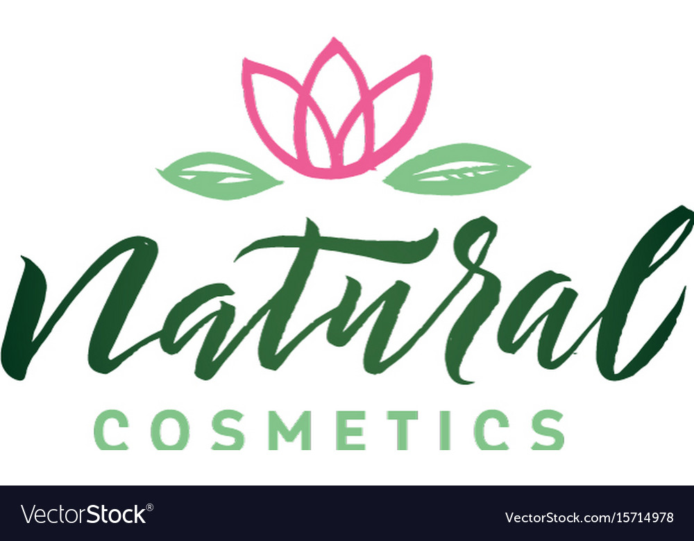 Natural cosmetics logo beauty lettering vector image