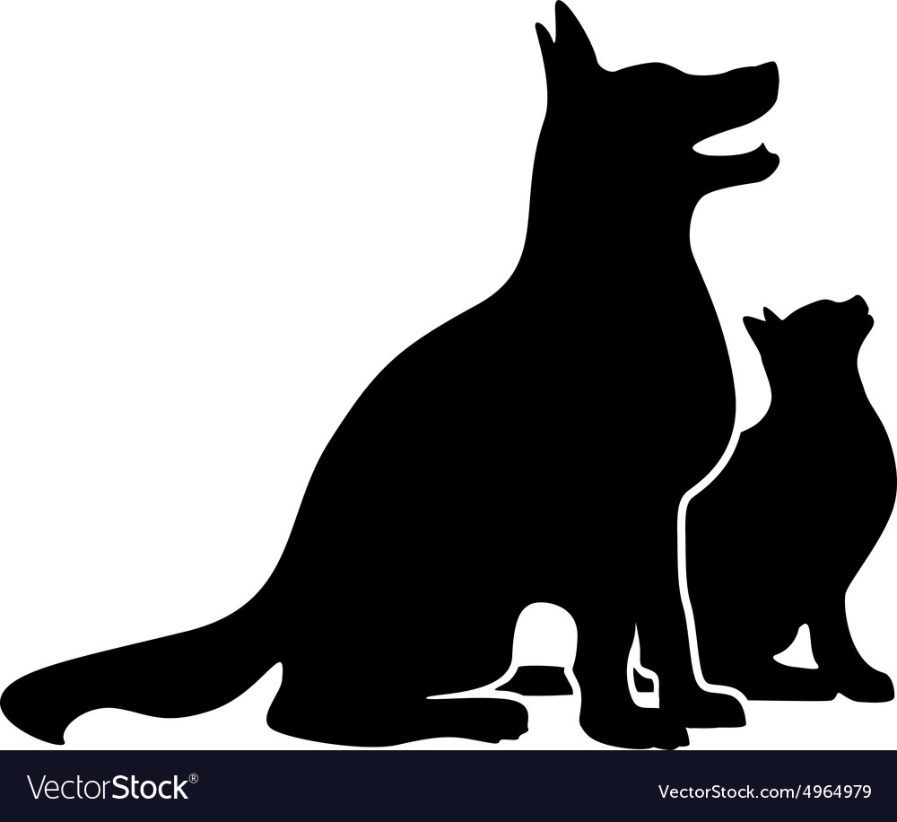 Dog Silhouette And Cat