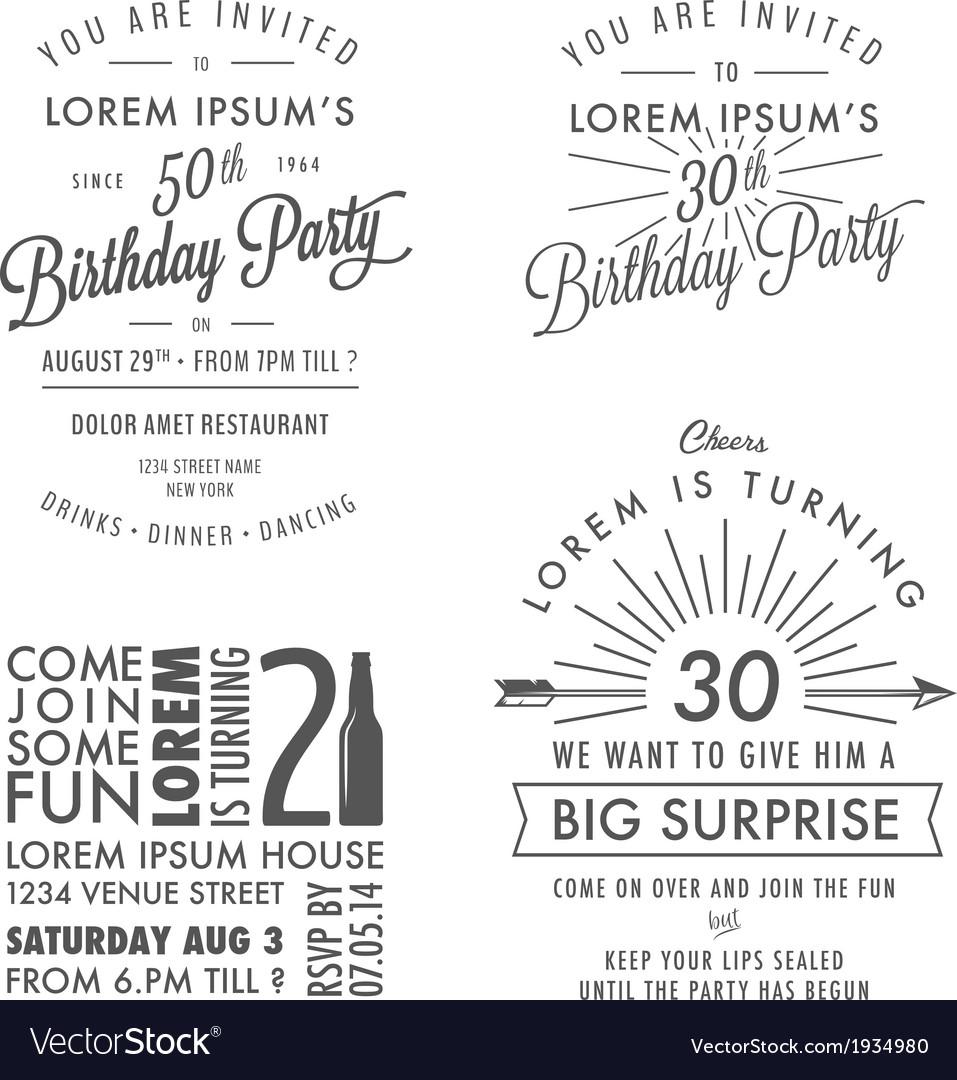 Adult birthday invitation vintage design elements vector image adult birthday invitation vintage design elements vector image stopboris Image collections