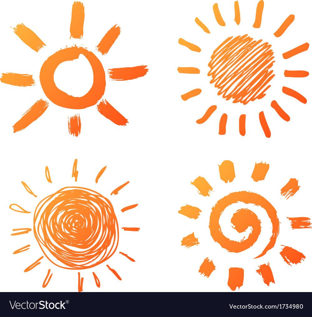 Hand drawn sun icons vector image