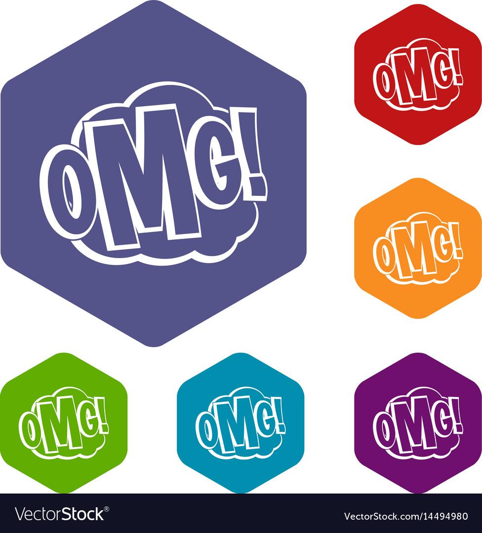 Omg comic text speech bubble icons set hexagon vector image