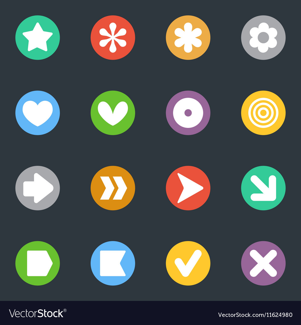 Simple stickers icon in the circle set vector image