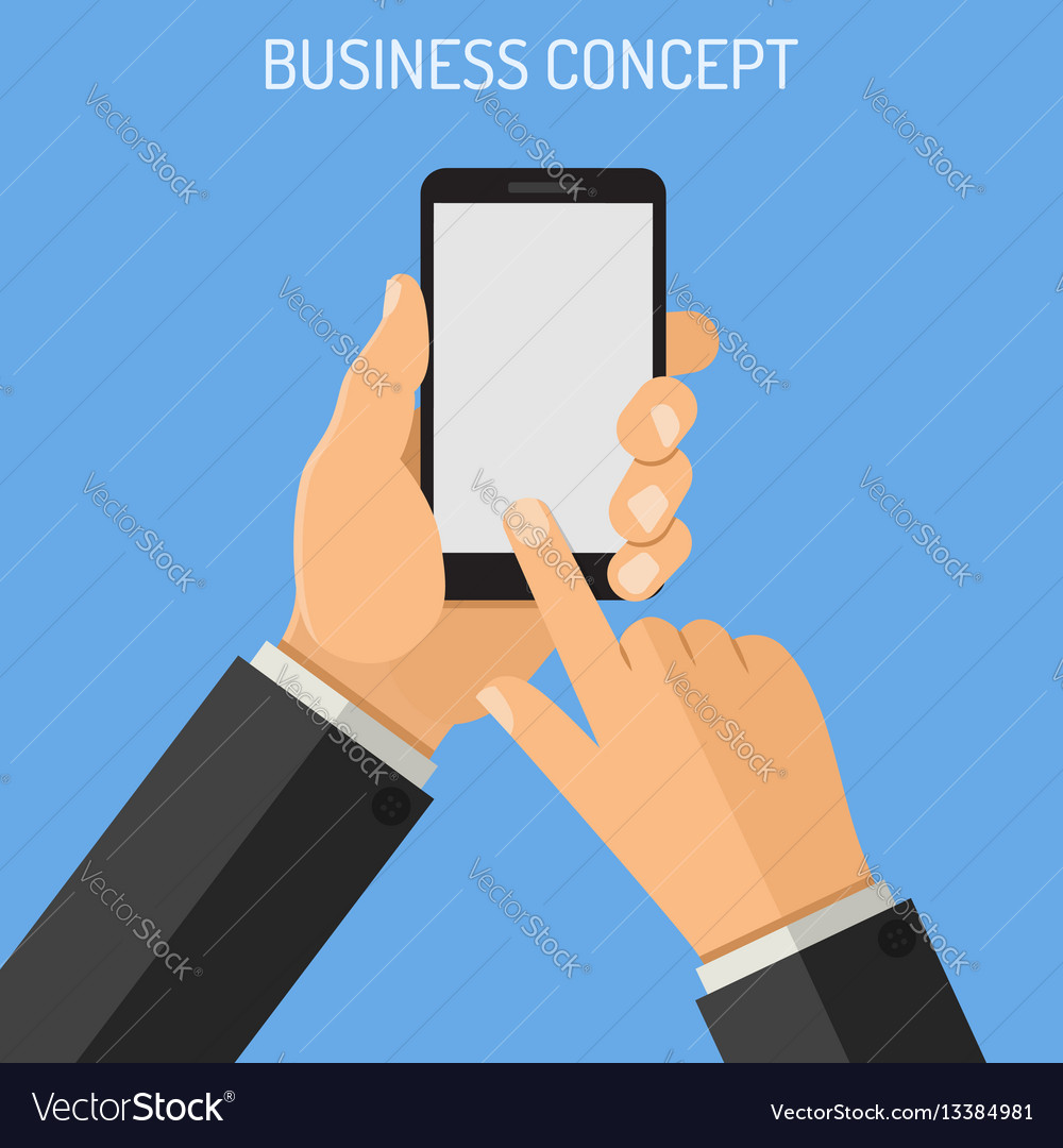 Man holding smartphone in hand vector image