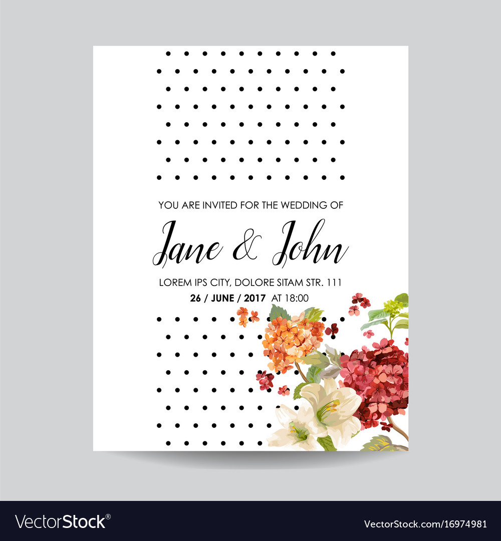 Wedding card with autumn vintage hortensia flowers vector image