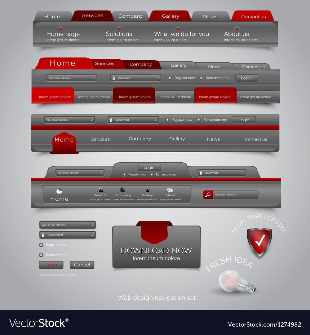 Web site navigation menu pack 21 vector image