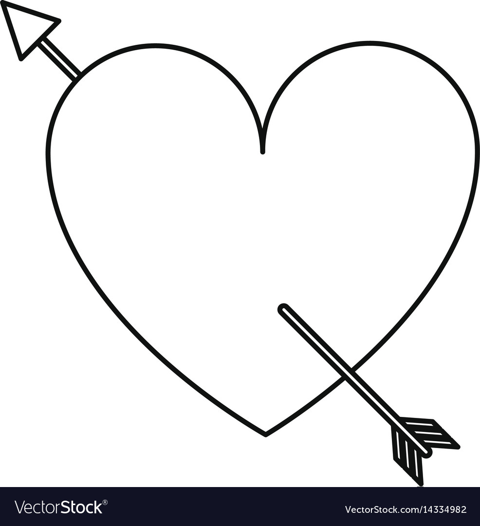 Heart with arrow love valentine line vector image