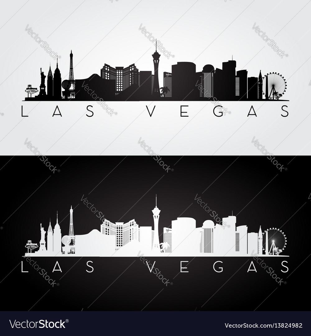 Las vegas usa skyline and landmarks silhouette vector image