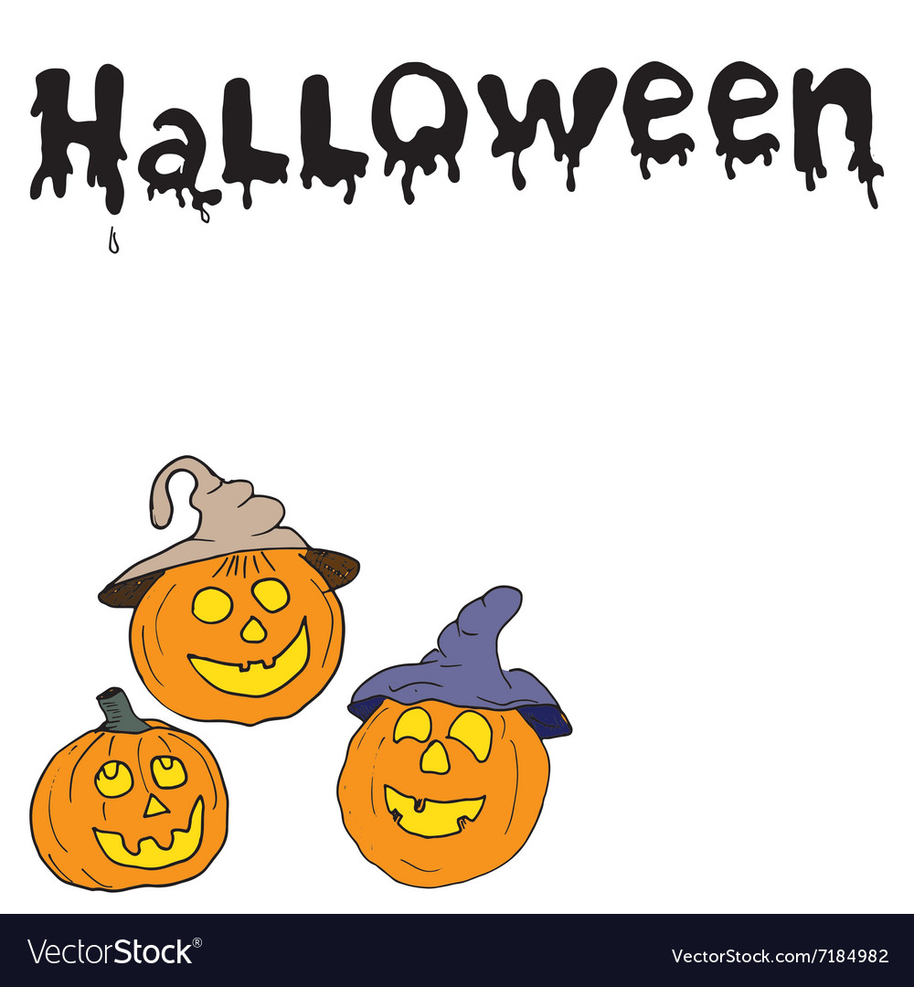 Sketch of halloween pumpkin Doodles set with vector image