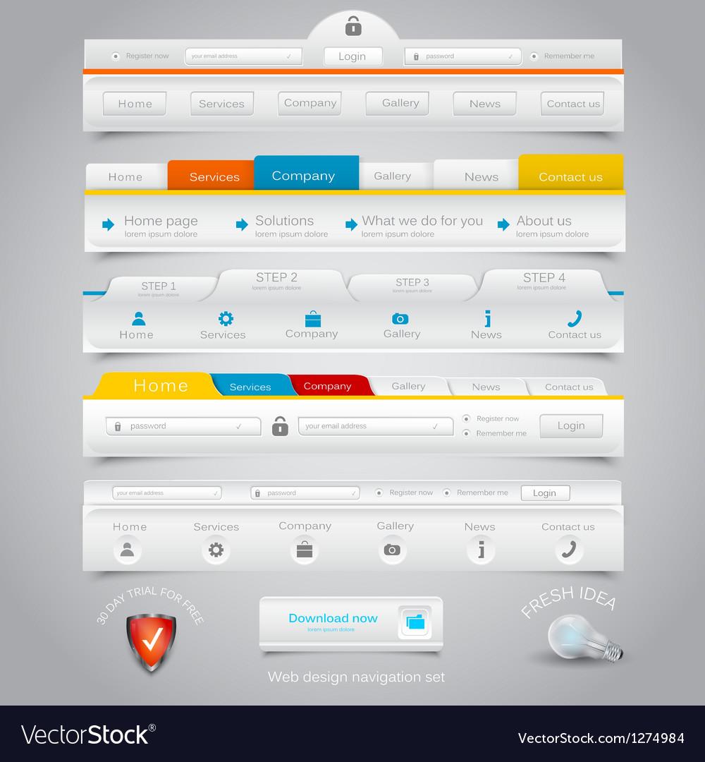 Web site navigation menu pack 22 vector image
