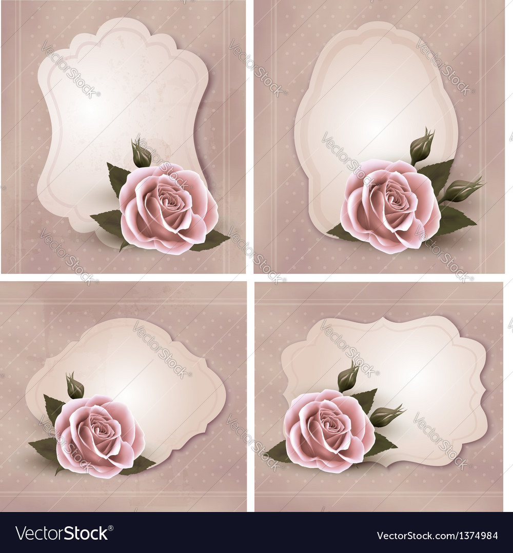 Collection of retro greeting cards with pink rose vector image collection of retro greeting cards with pink rose vector image kristyandbryce Image collections