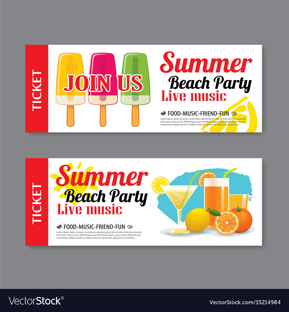 Elegant Summer Beach Party Invitation Ticket Template Vector Image Intended For Party Ticket Template