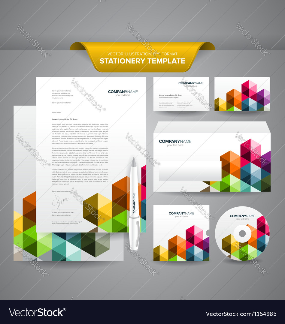 Business Stationery Template Triangles Vector Image
