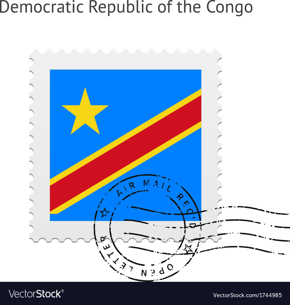 Democratic Republic of the Congo Flag Postage vector image