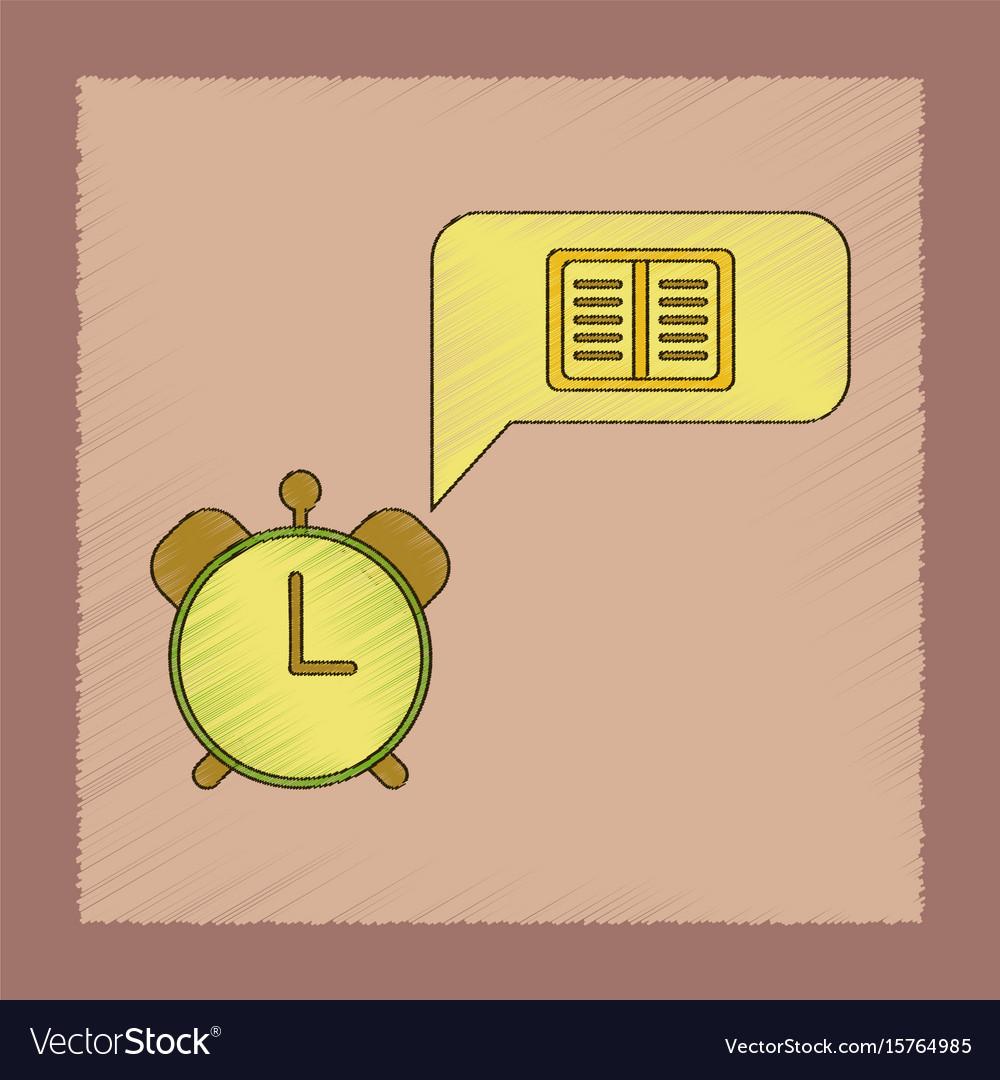 Flat shading style icon book alarm clock vector image