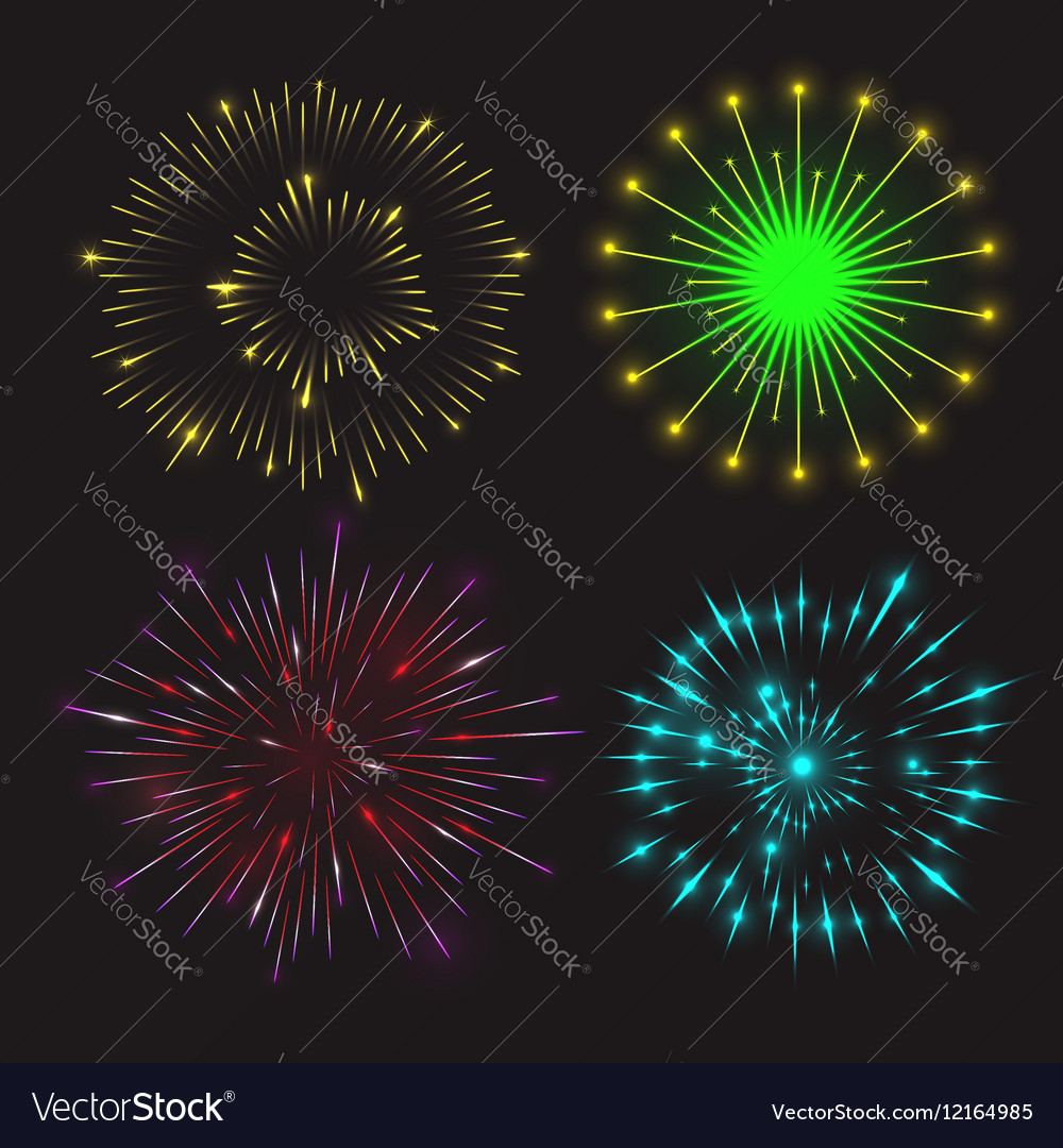 Set of festive fireworks vector image