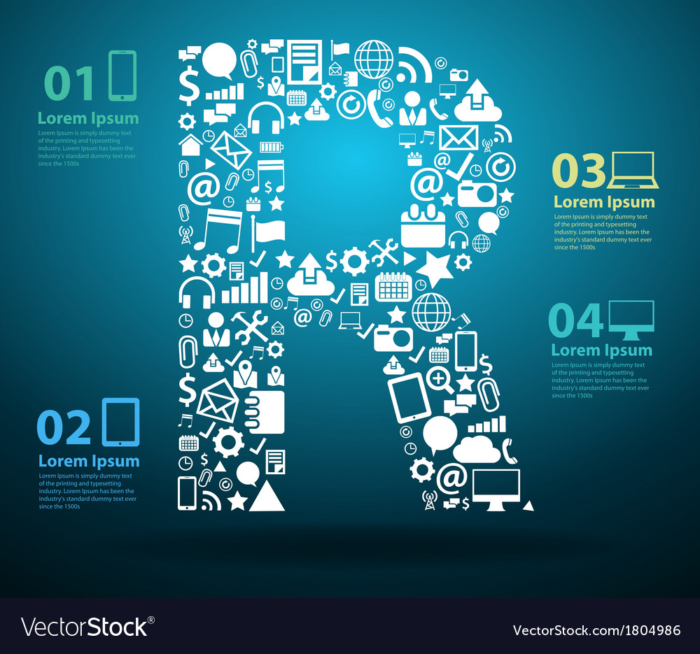 Application icons alphabet letters R design vector image