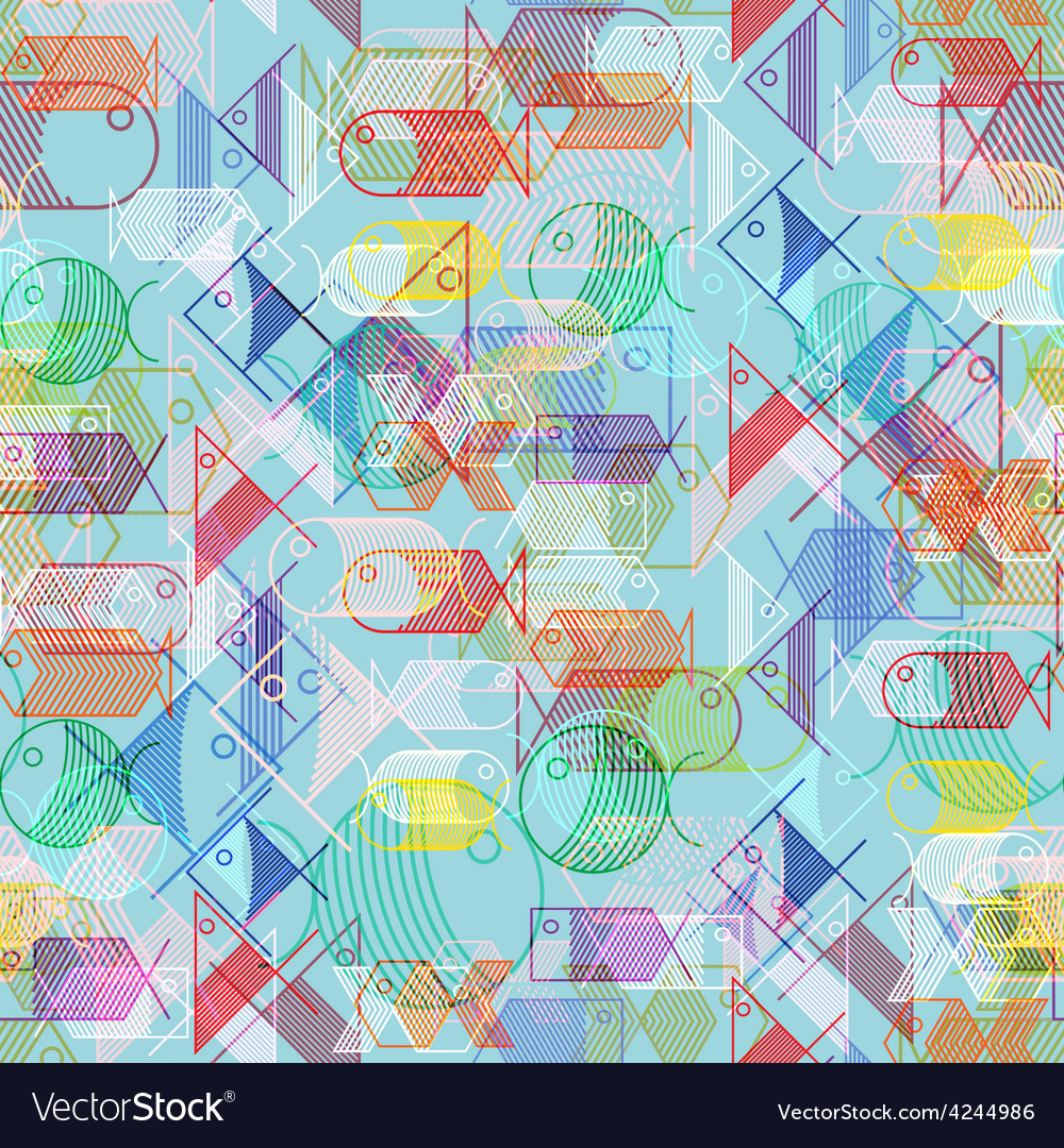 Seamless pattern of colorful cartoon fishes vector image