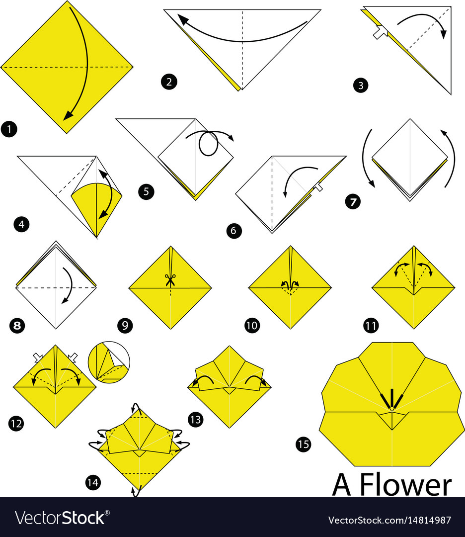 Step instructions how to make origami a flower vector image mightylinksfo Choice Image